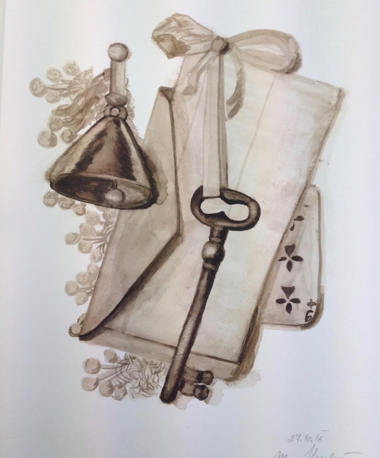 klíč - technika akvarel